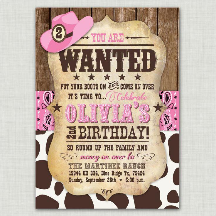 Cowgirl Themed Birthday Invitations Best 25 Ideas On Pinterest