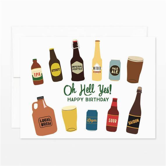 oh hell yes birthday beers greeting card