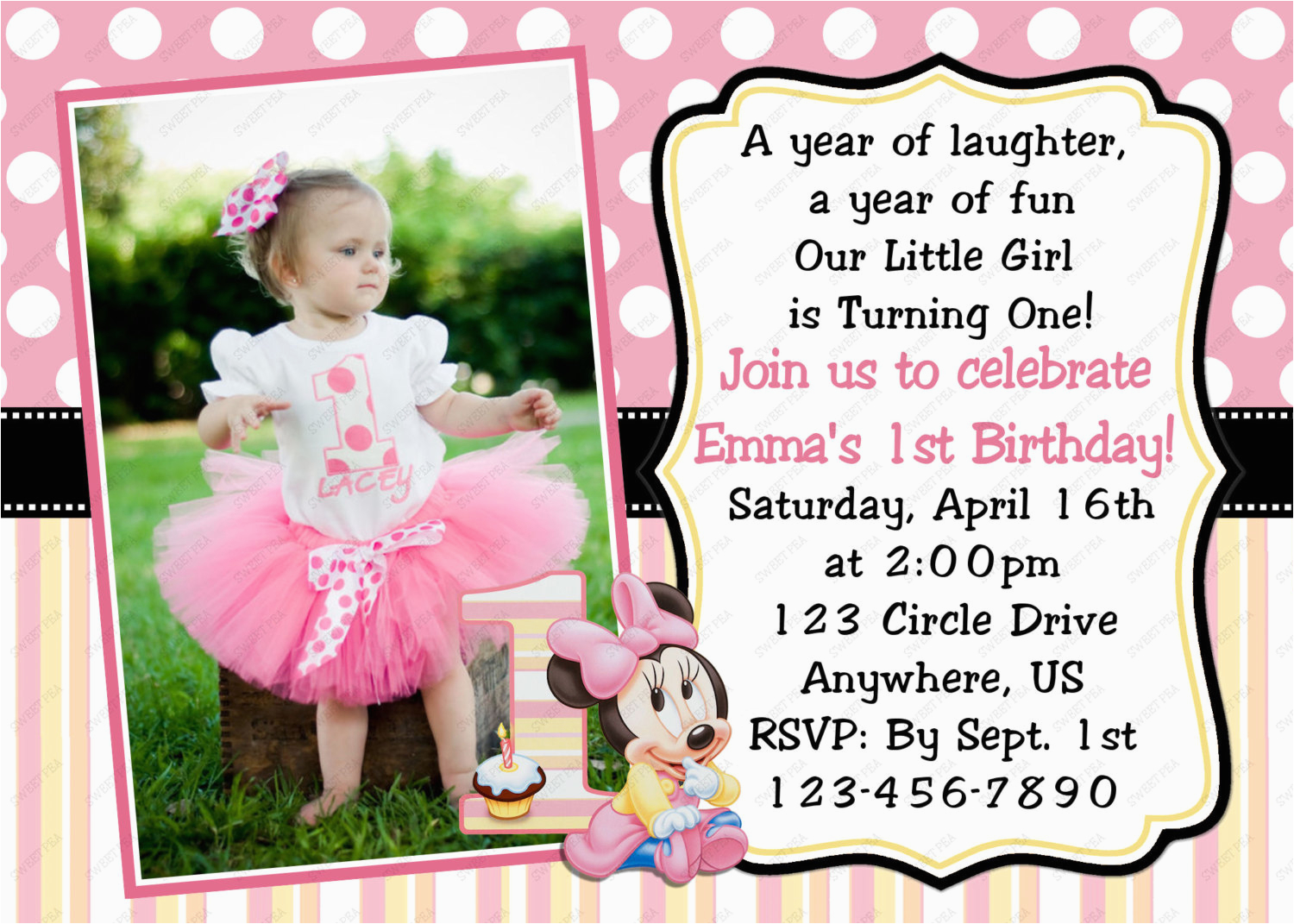 Create 1st Birthday Invitation Card Online Free Printable Invitations Girl With High Definition