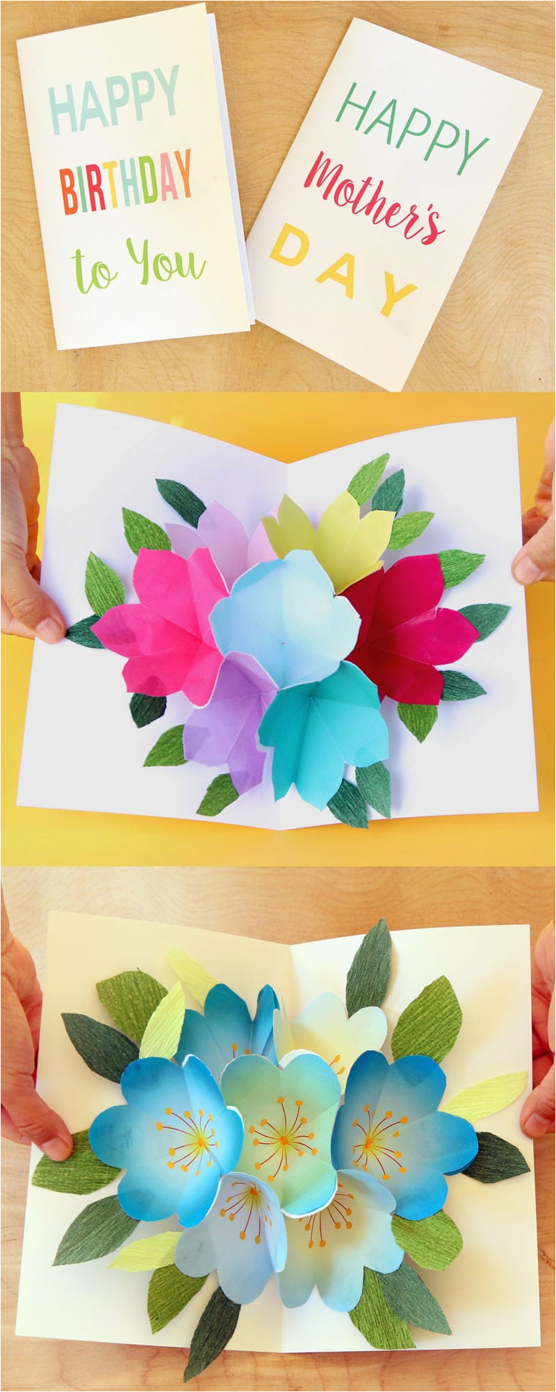 Create And Print Birthday Cards Free Printable Happy Card With Pop Up Bouquet A