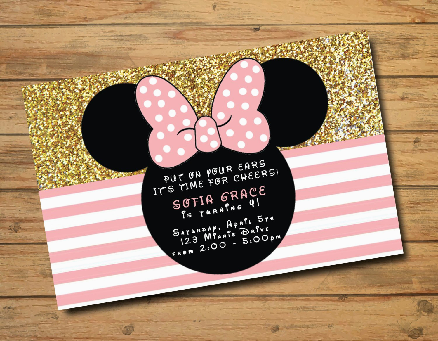 Create Minnie Mouse Birthday Invitations Polka Dots Gold And Pink