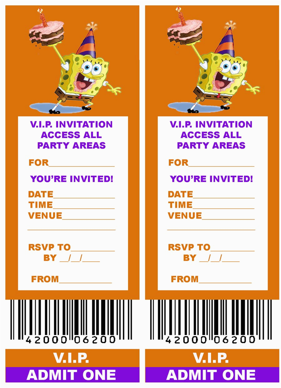Create Your Own Birthday Invitations Free Online Spongebob Invitation Template