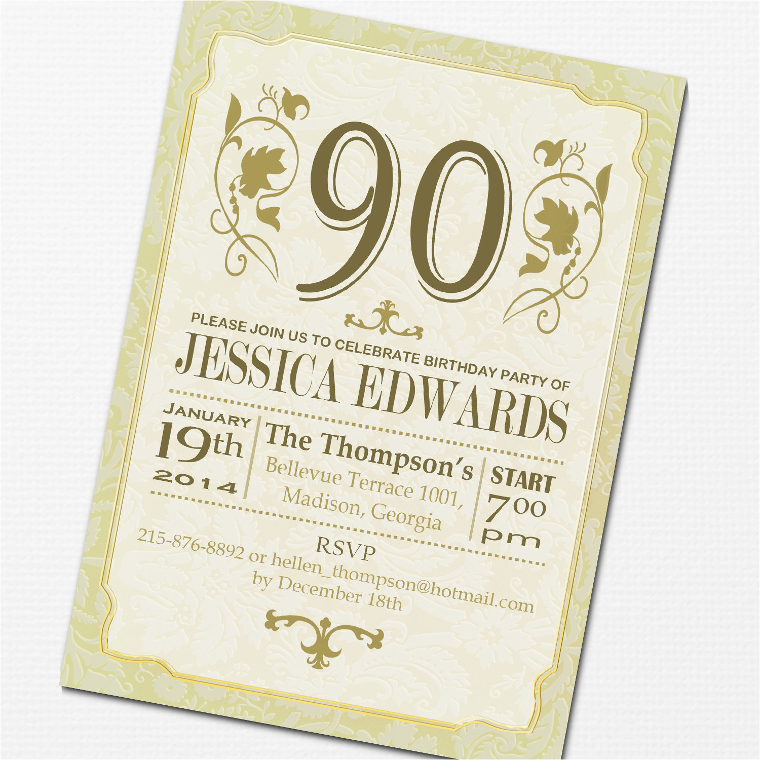 create easy 90th birthday invitations designs ideas