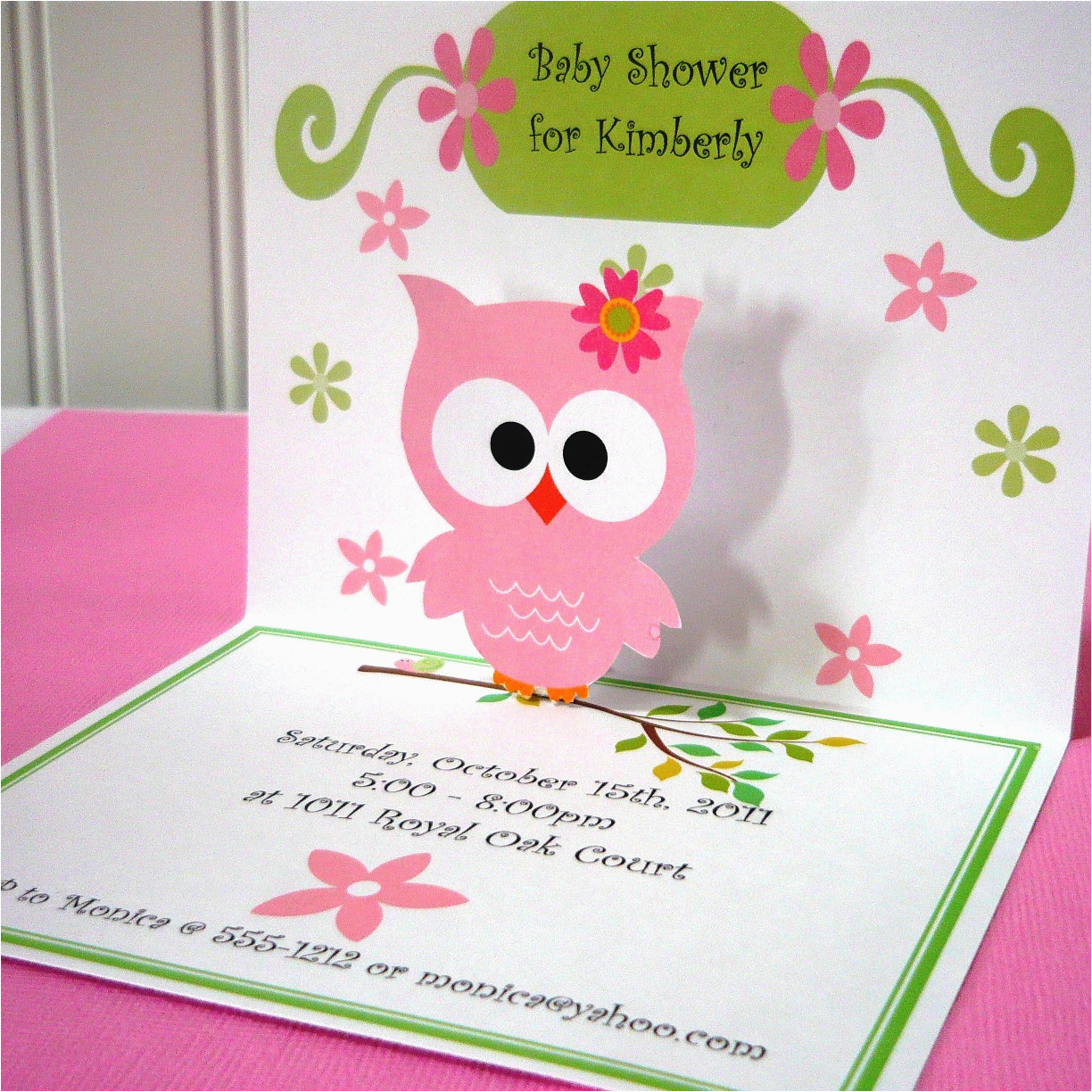 i made these owl invitations with my cricut machine bow is made