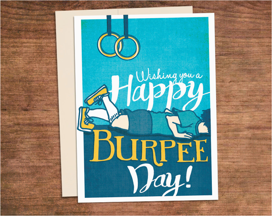 crossfit birthday burpee card happy burpee day customized