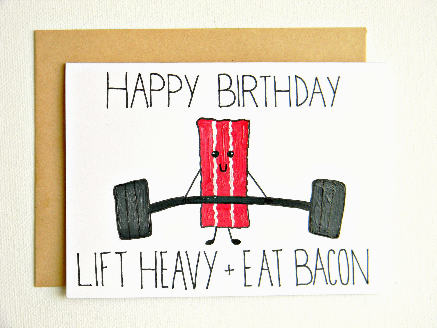 crossfit fitness bacon birthday card by joyplicity on etsy