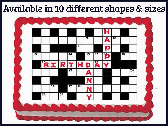 crossword puzzle edible birthday wedding