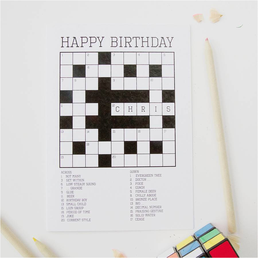 Crossword Puzzle Birthday Card Personalised Crossword Puzzle Card by Claire Close