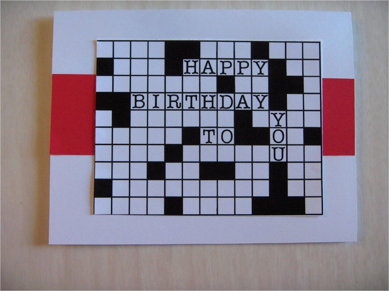 dads crossword birthday card