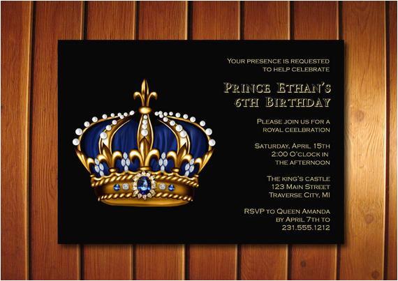 prince birthday invitation gold crown royal