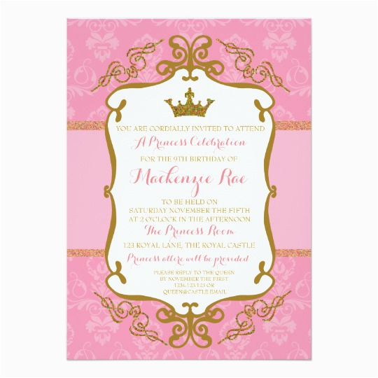 royal princess crown party invitation pink gold 256621436837815881