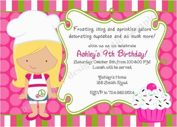 Cupcake Decorating Birthday Party Invitations Cupcake Invitation Cupcake Decorating Party Cupcake Birthday