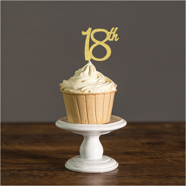 Cupcake Decorations For 18th Birthday Toppers Silver Black Gold Glitter