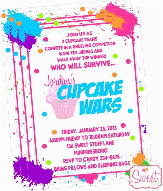 cupcake wars baking party invitation printed