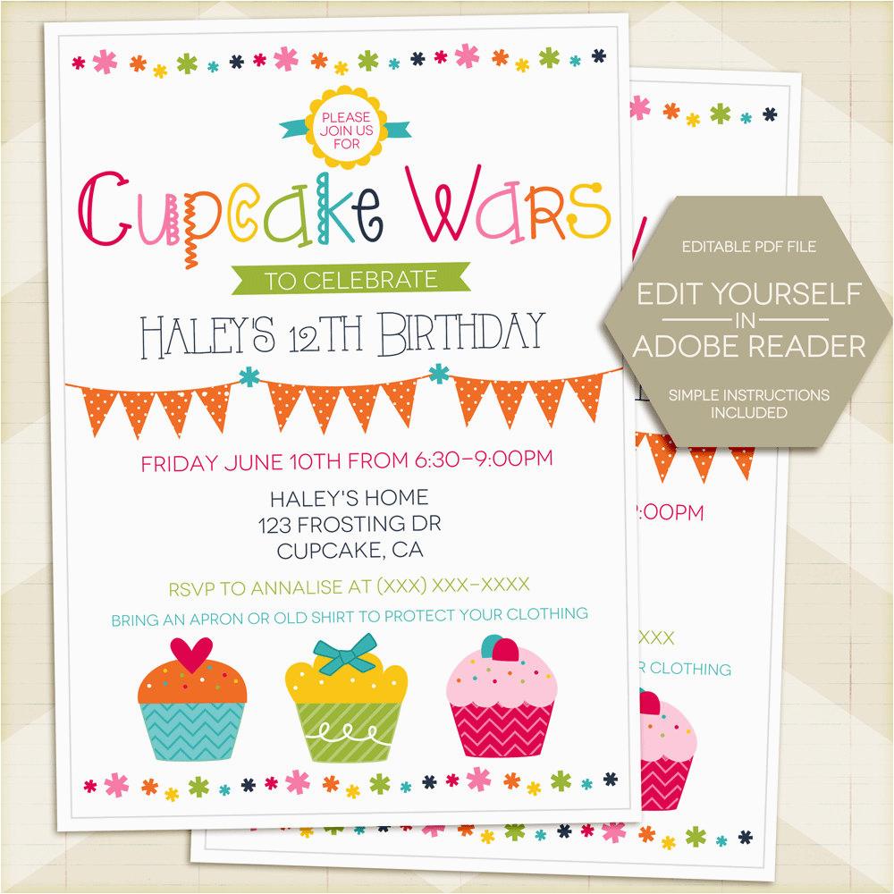 cupcake wars birthday party invitation