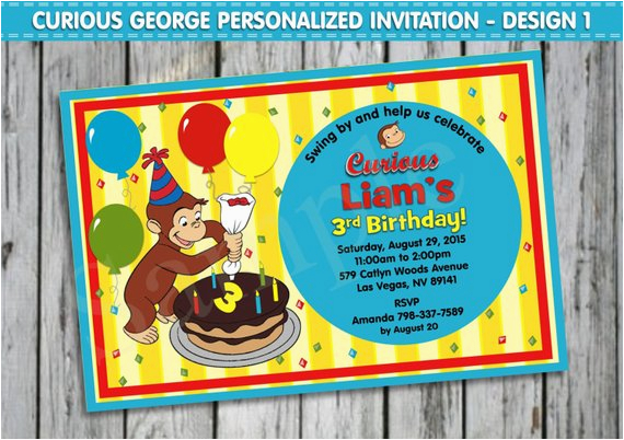 Curious George 1st Birthday Invitations Curious George Invitation Personalised by Lollipoppartydesigns