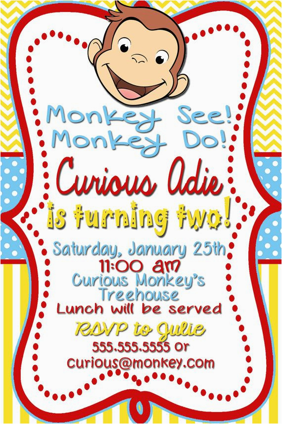 Curious George 2nd Birthday Invitations 17 Best Ideas About Curious George Invitations On