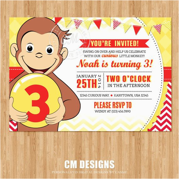 Curious George 2nd Birthday Invitations Curious George Birthday Invitation by Designsbycassiecm On