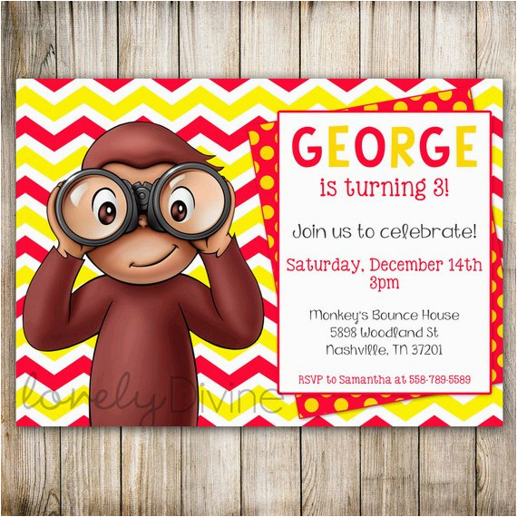 Curious George 2nd Birthday Invitations Chevron 1st Invitation