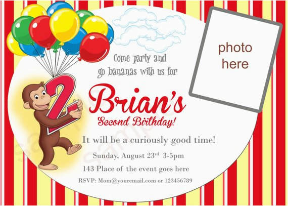 Curious George 2nd Birthday Invitations Curious George Invitation Birthday Digital by Neildigiprints