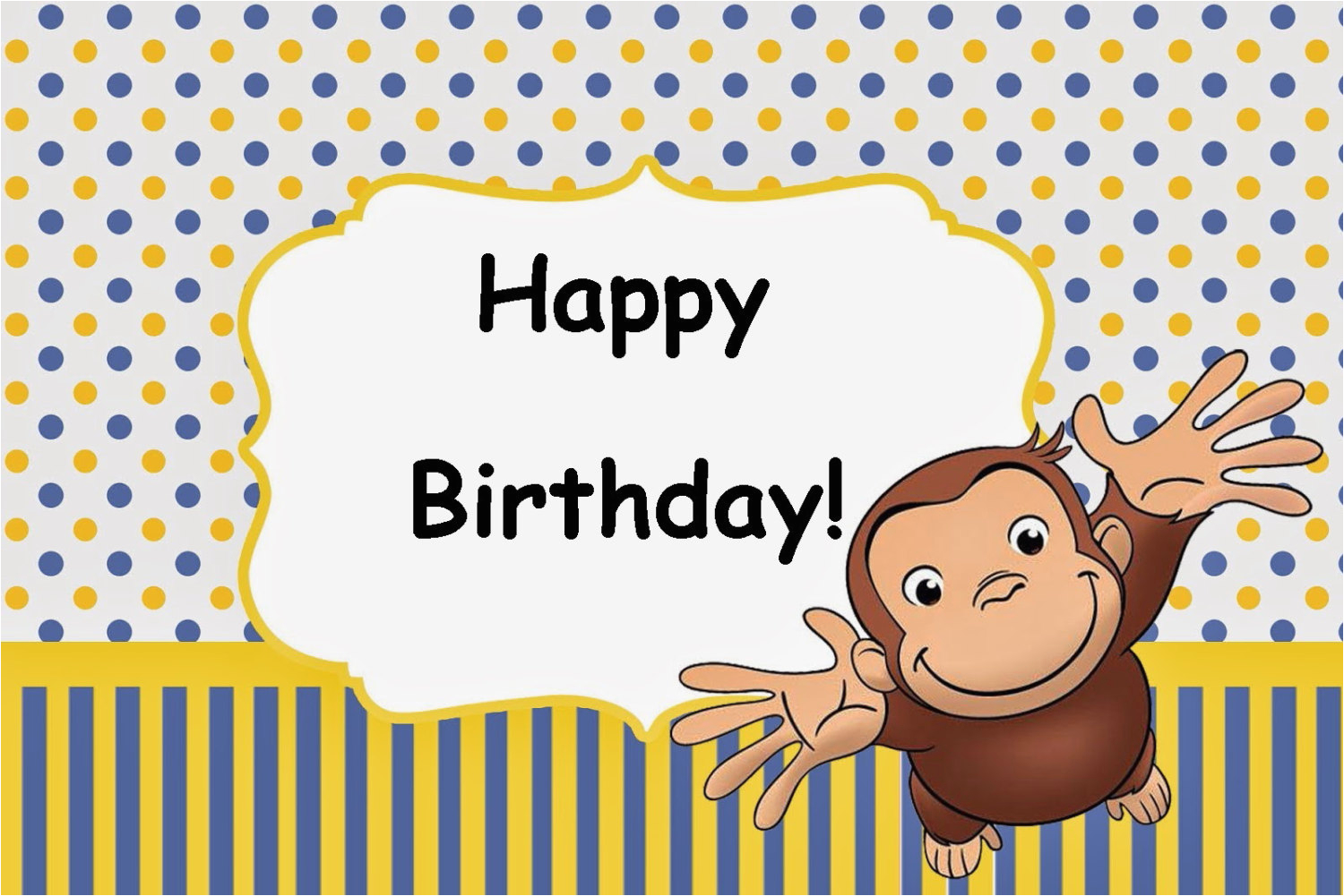 curious george birthday party card set