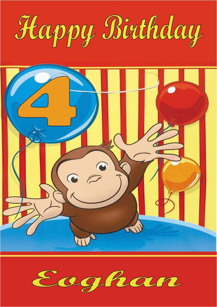 Curious George Birthday Cards Personalised Curious George Birthday Card