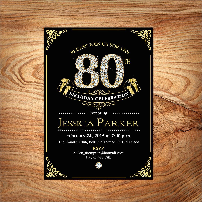 Custom 60th Birthday Invitations Black Gold 80th Invitation 70th 90th Any