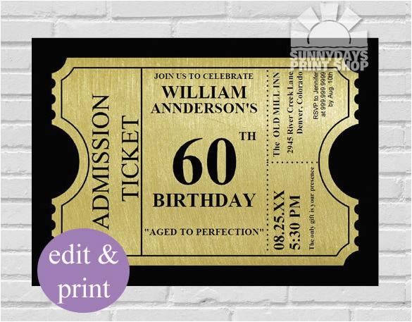 custom 60th birthday invitations hnc