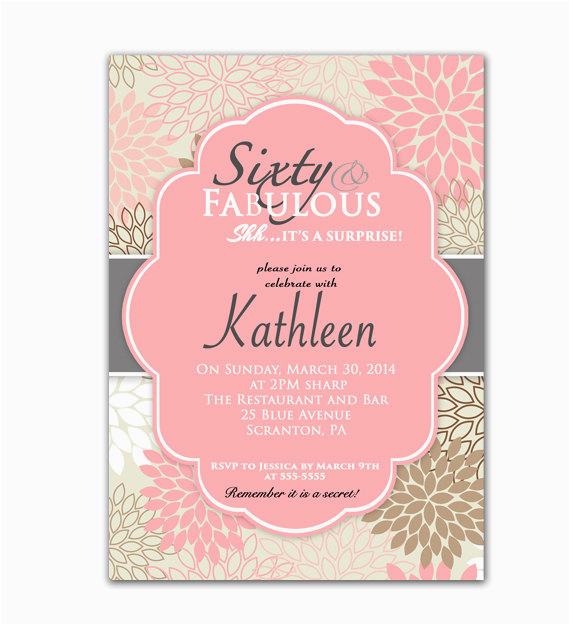 Custom 60th Birthday Invitations Pink Invitation Sixty And Fabulous Surprise