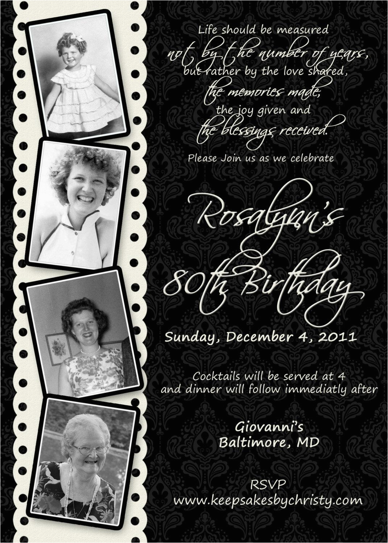 15 Sample 80th Birthday Invitations Templates Ideas Free