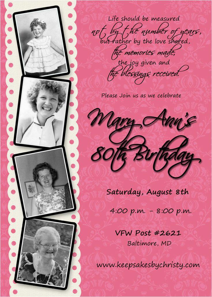 Custom 80th Birthday Invitations