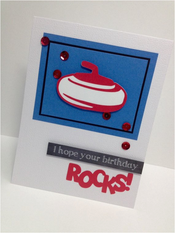 curling birthday card personalized red and blue greeting
