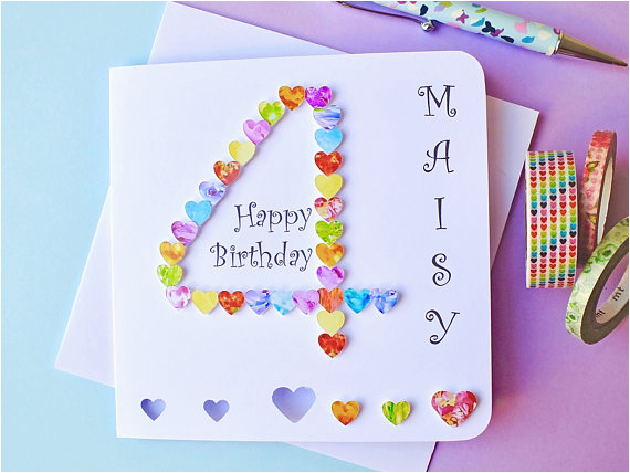4th birthday card custom personalised age 4 card colourful
