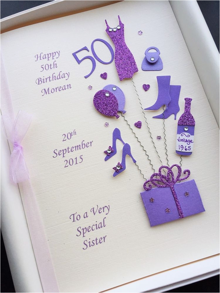 50th birthday card for women personalised handmade gift