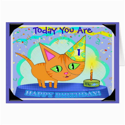 custom birthday cat greeting card zazzle