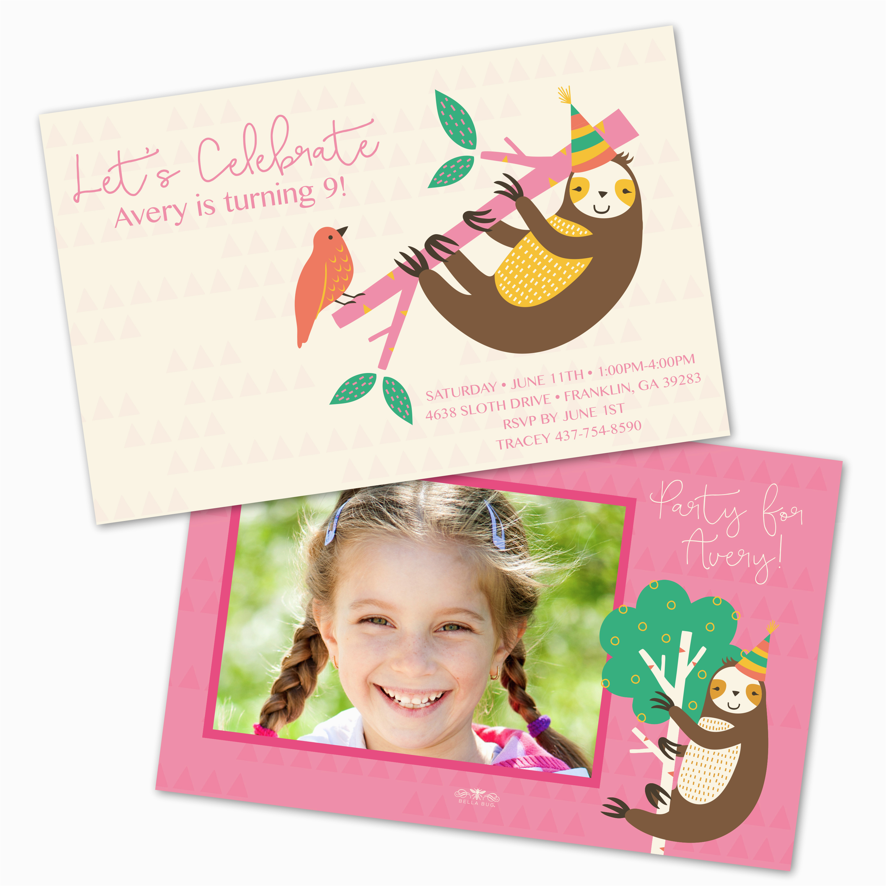 sloth personalized kids birthday party invitations