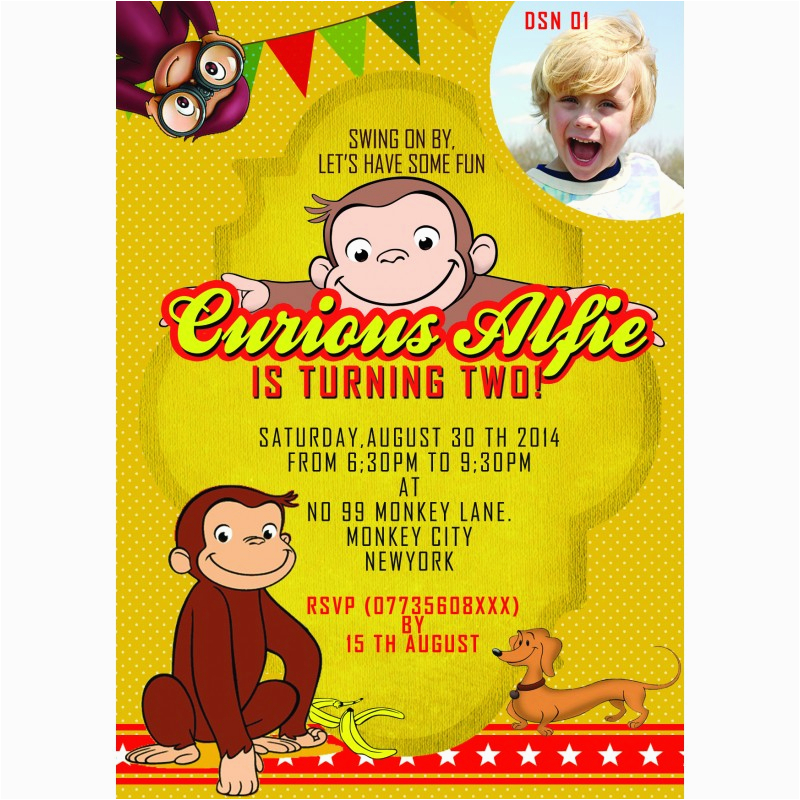 185 personalized curious george party invitations thank you cards