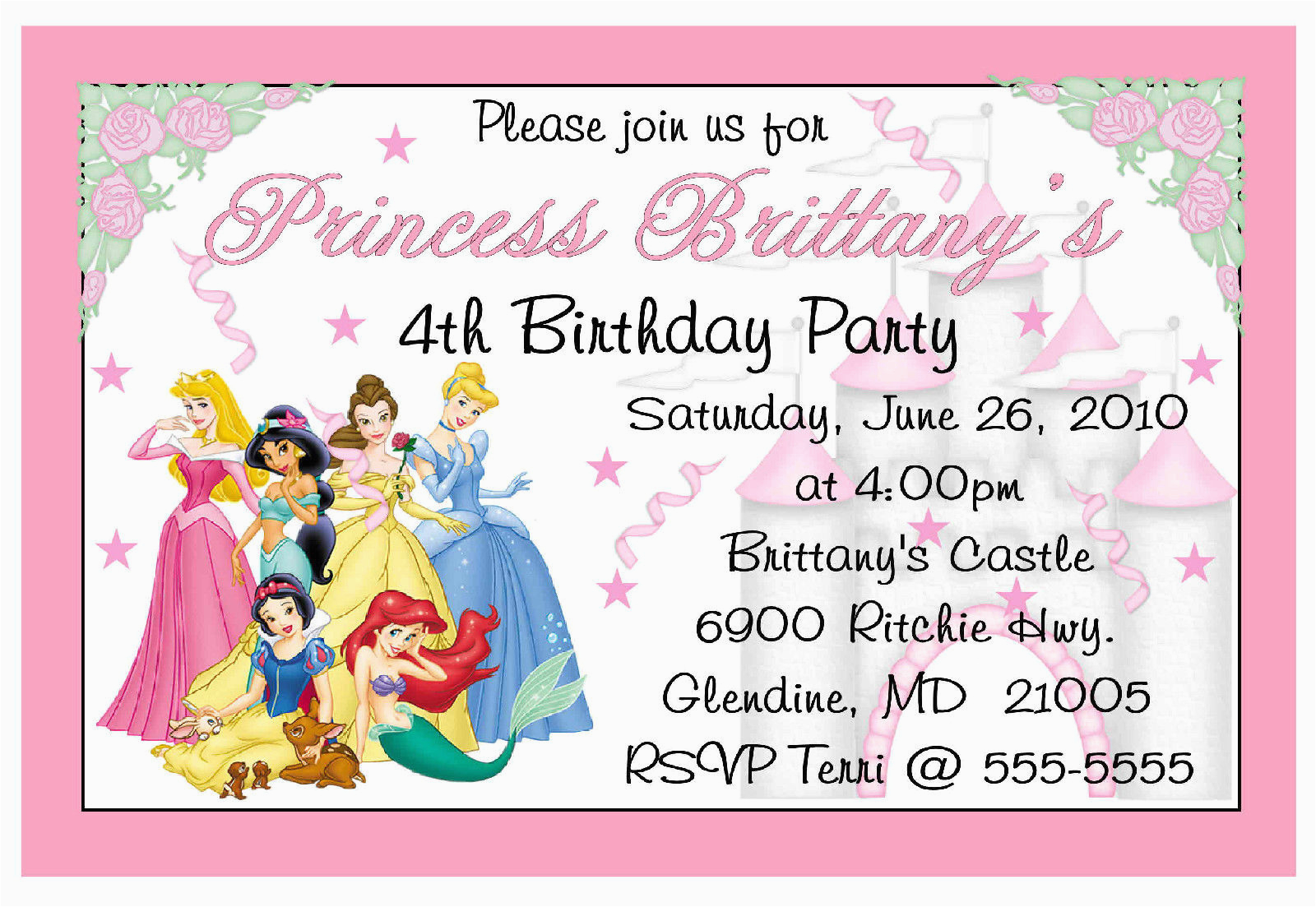 Custom Disney Princess Birthday Invitations 6 99 Picclick