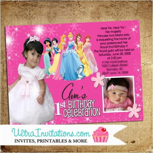 Custom Disney Princess Birthday Invitations Personalized With Photo