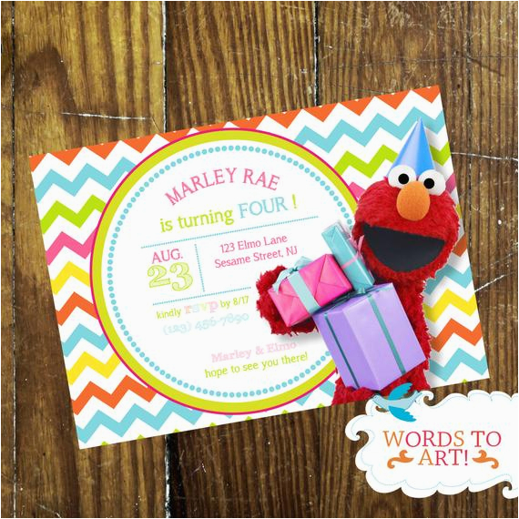 Custom Elmo Birthday Invitations Girlie Party Chevron