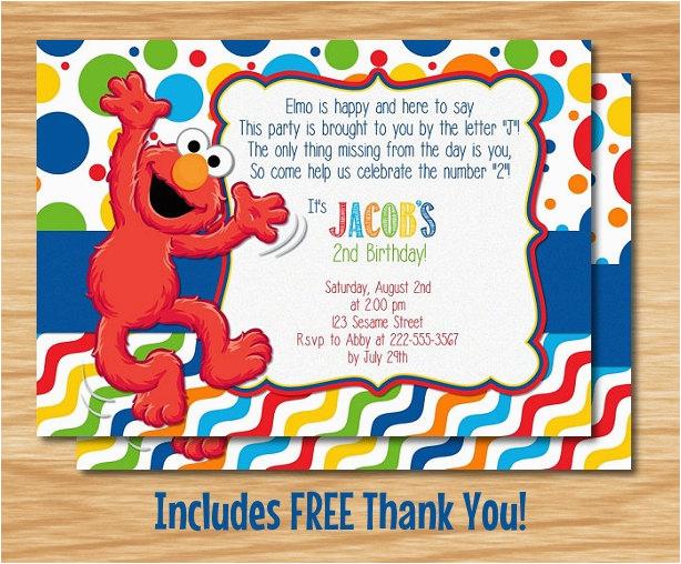 Custom Made Elmo Birthday Invitation