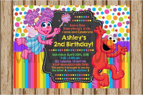 Custom Elmo Birthday Invitations And Abby Sesame Street