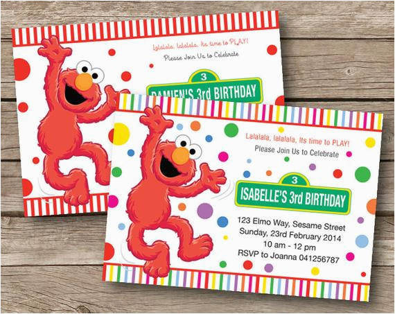 Custom Elmo Birthday Invitations Invitation Party Personalized By Redapplestudio