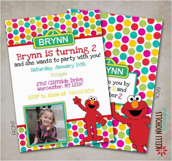 Custom Elmo Birthday Invitations Little Girl Custom Elmo Birthday