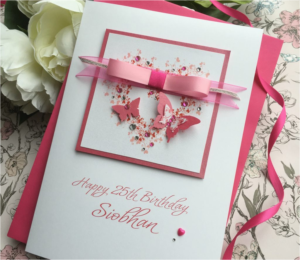 gorgeous luxury butterfly heart birthday card