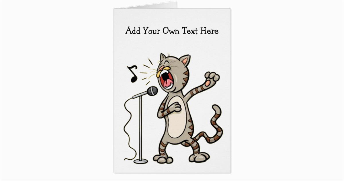 Personalized Funny Singing Cat Greeting Cards 137639798066650818