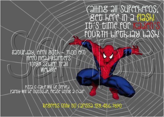 Custom Spiderman Birthday Invitations Printable Party By