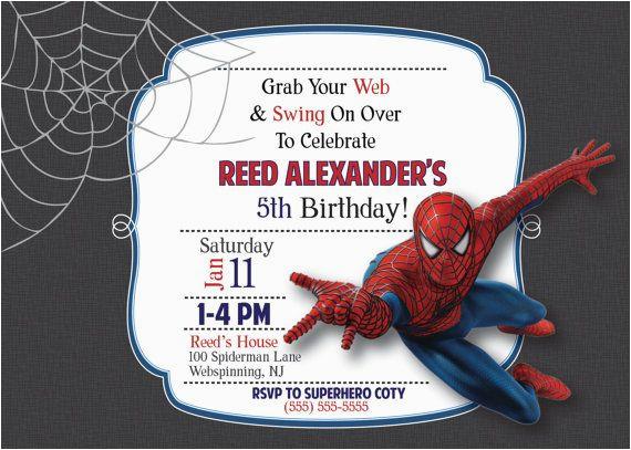 Custom Spiderman Birthday Invitations Party Made To