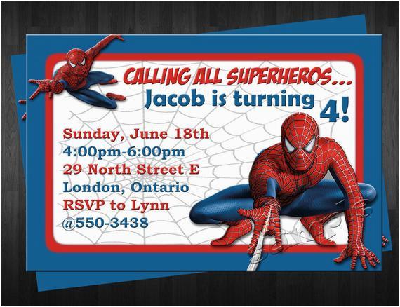 Custom Spiderman Birthday Invitations Items Similar To Invitation