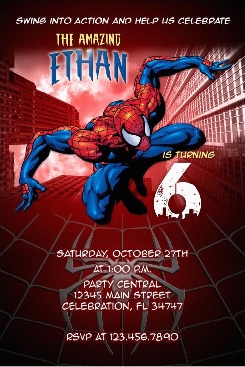 Custom Spiderman Birthday Invitations 1 Party Invitation Diy